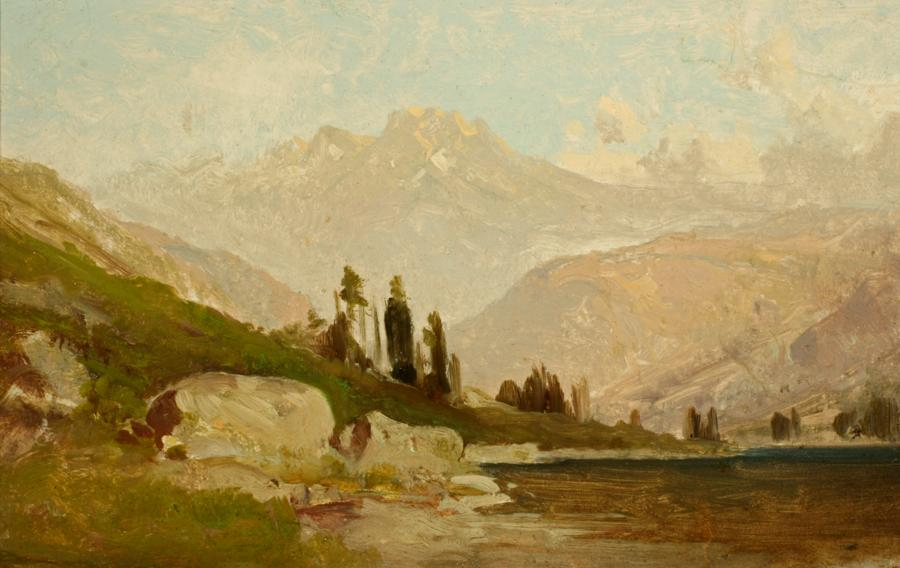 William Keith, Sierra Lake and Boulders, circa 1900-1911, Oil on paper, 10 ¼ x 16 inches, Collection of Saint Mary's College Museum of Art,  Gift of James J. Coyle, 0-73
