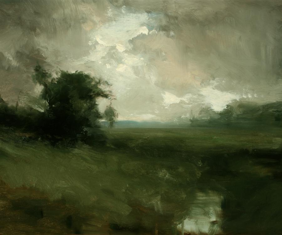 William Keith, Misty Meadow, Tree and Sky, circa 1890-1899, Oil on canvas, 17 ¾ x 22 inches, Collection of Saint Mary's College Museum of Art,  Gift of Una Herring, 0-78
