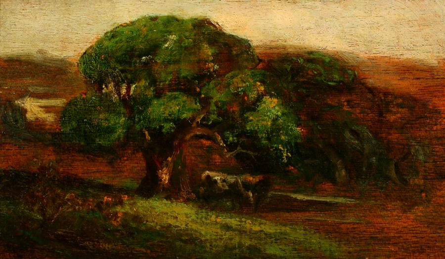 William Keith, Oak and Cattle, circa 1906-1911, Oil on cigar box panel, 7 x 14 ¼ inches, Collection of Saint Mary's College Museum of Art,  Gift of Ruby Beede (Mrs. Arthur H. Beede, M.D.), 1955, 0-7