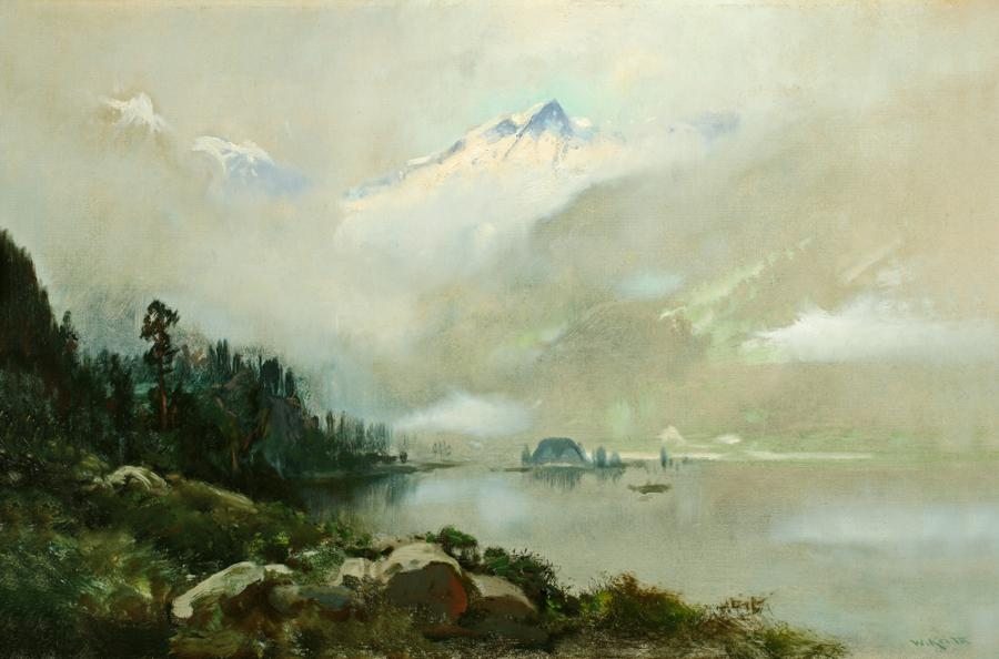William Keith, Misty Morning Near Sitka, 1890-1899, Oil on canvas, 16 x 24 inches, Collection of Saint Mary's College Museum of Art,  College purchase, 0-80