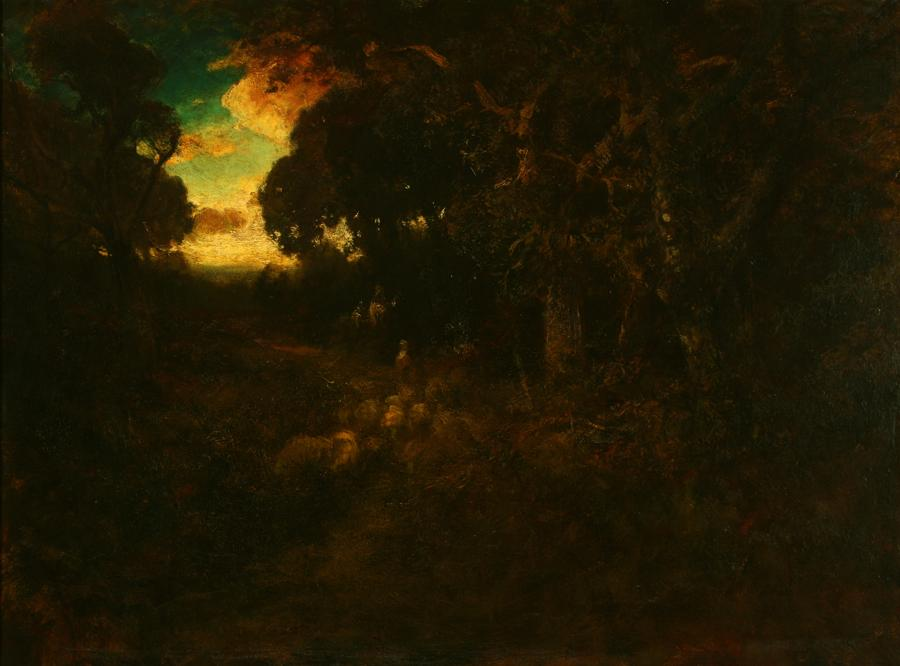 William Keith, Grand Somber Oaks and Sunset Sky, circa 1900-1911, Oil on canvas, 30 x 40 inches, Collection of Saint Mary's College Museum of Art,  Gift of Mrs. John B. McKee Estate, 1958, 0-82