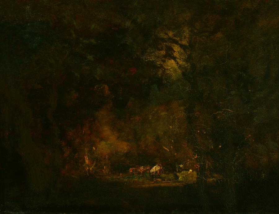 William Keith, Strange Lightings in Dark Wood, circa 1890-1911, Oil on wood panel, 10 ½ x 13 ⅝ inches, Collection of Saint Mary's College Museum of Art,  Gift of Mrs. Helen Crawford, 0-83