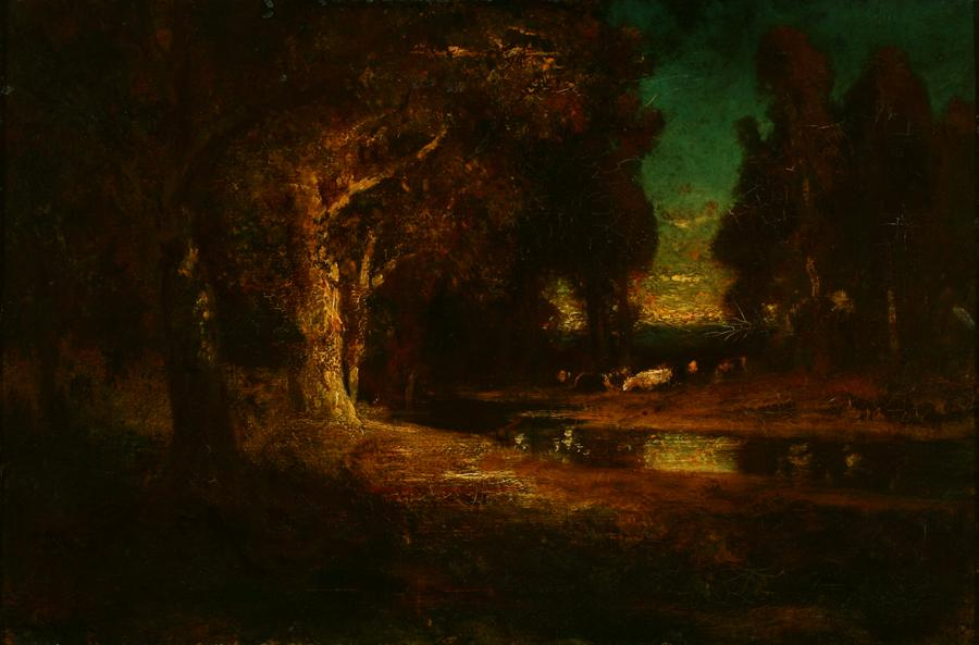 William Keith, Russet Evening Scene, circa 1906-1911, Oil on canvas, 16 x 24 ¼ inches, Collection of Saint Mary's College Museum of Art,  Gift of Mrs. Cora Hughes in memory of her husband, Dr. West Hughes, 0-89