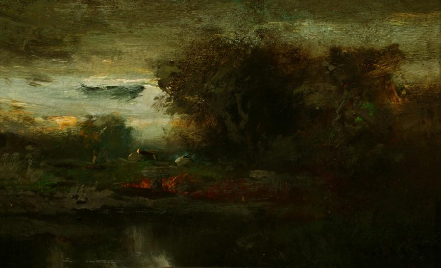 William Keith, Meeting of Day and Night, circa 1900-1911, Oil on paperboard, 7 x 10 ¾ inches, Collection of Saint Mary's College Museum of Art,  Gift of Mrs. Edward Rainey in memory of her husband, 0-9