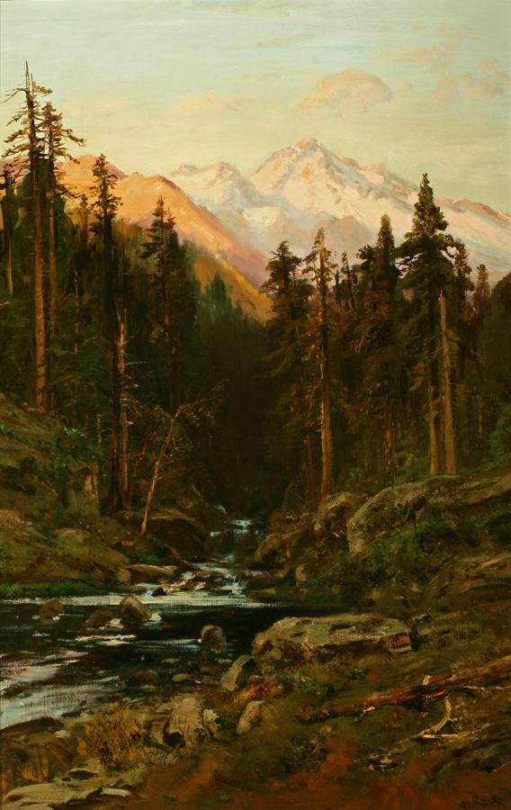 William Keith, Sierra Forest Stream and Sunny Peaks, circa 1880, Oil on canvas, 36 x 23 inches, Collection of Saint Mary's College Museum of Art,  Gift of Estelle Doheny, 1943, 0-90