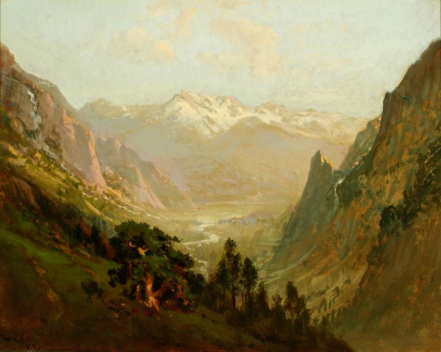 William Keith, High Sierra Canyon, 1900-1905, Oil on canvas, 24 x 30 inches, Collection of Saint Mary's College Museum of Art,  Gift of Benjamin H. Lehman, 0-91