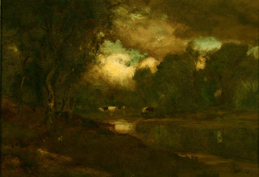 William Keith, Pastoral, Dark and Grand, 1890-1899, Oil on canvas, 18 x 26 ½ inches, Collection of Saint Mary's College Museum of Art,  Gift of James J. Coyle and William T. Martinelli, 1960, 0-94