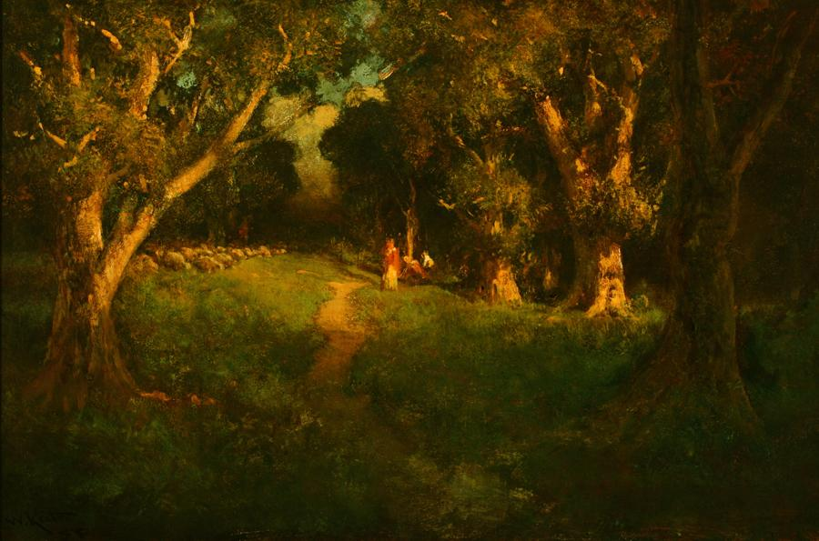 William Keith, Grand Forest Interior, 1900-1911, Oil on canvas, 24 ¼ x 36 ¼ inches, Collection of Saint Mary's College Museum of Art,  Gift of Mr. and Mrs. Albert T. Shine, Jr., 0-95