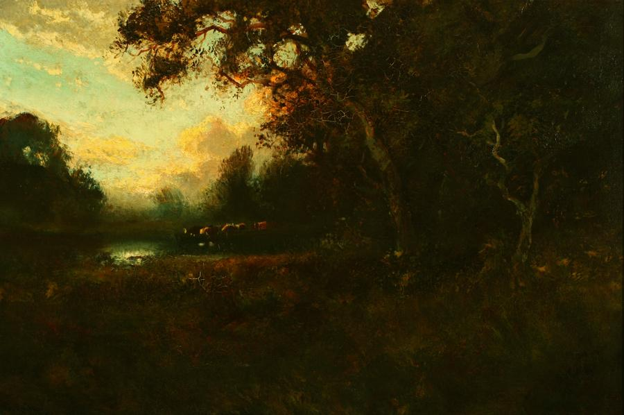 William Keith, Woods and Reflections of Clouds, Somber and Grand, circa 1900-1911, Oil on canvas, 20 ¼ x 30 inches, Collection of Saint Mary's College Museum of Art,  Gift of Doyle Estate, 1965, 0-96