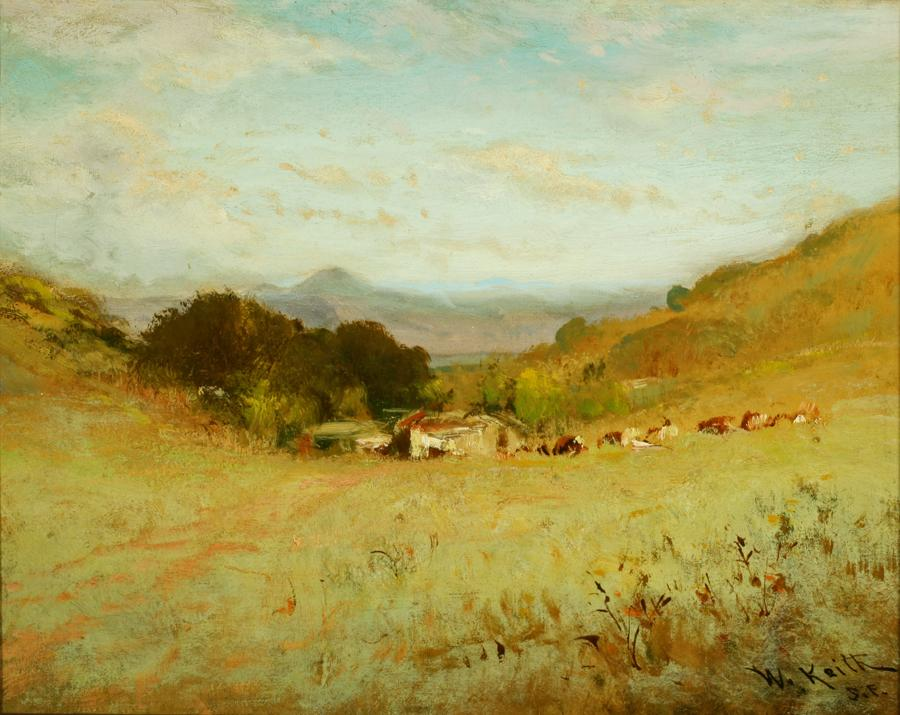 William Keith, Untitled (landscape with cows), circa 1880s, Oil on canvas, 13 x 16 inches, Collection of Saint Mary's College Museum of Art,  Gift of Mrs. Carroll Ann Lobre in memory of Major Vincent I. Carroll, 2001.3