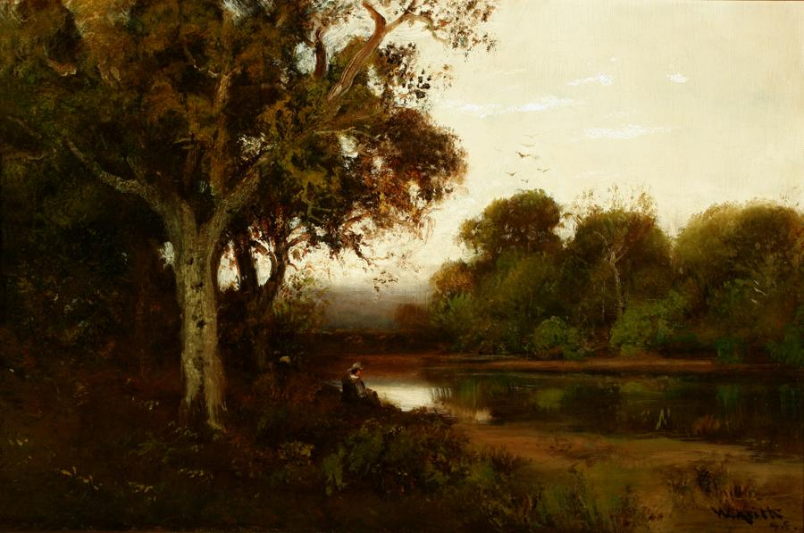 William Keith, Title unknown (landscape), 1890-1899, Oil on canvas, 16 x 24 inches, Collection of Saint Mary's College Museum of Art,  Gift of Mr. and Mrs. James (Jay) Gibson, 2005.21