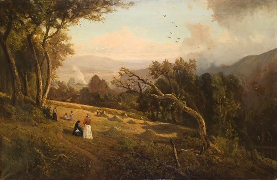 William Keith, Pastoral Hillside Scene, circa 1882, Oil on canvas, 25 x 37 inches, Collection of Saint Mary's College Museum of Art,  Gift of Richard G. Jenevein, in memory of Jean Wanty Jenevein, 2007.9