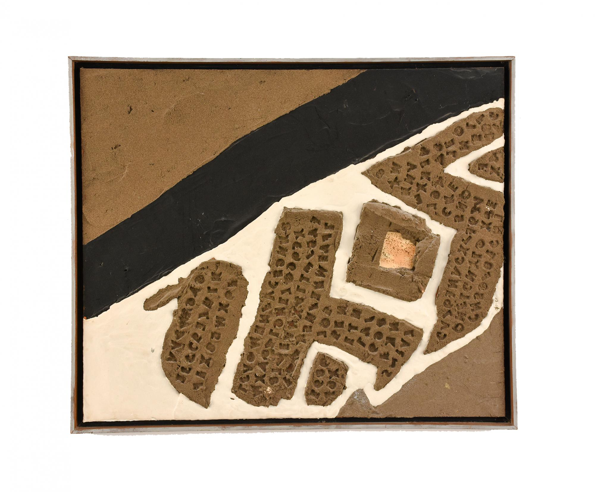 Pam Glover (b. China, 1924–2010) United States, Letters on Letters, c. 1965, Plaster and pigment on board, Gift of F. Rene Van de Carr M.D. [2012.10]