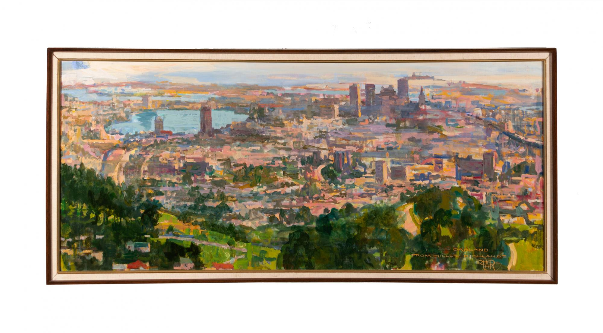 Frank Rowe (1921–1985) United States, Smog Alert –Oakland c. 1978–80, Oil on canvas, Gift of the Frank A. Rowe Family Trust [2012.16]