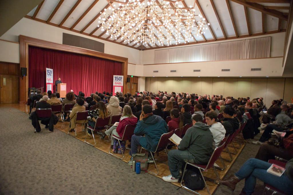 """A crowd of more than 250 people came to hear Rev. Edward Branch's Jan Term lecture """"Black Catholic Voices."""""""