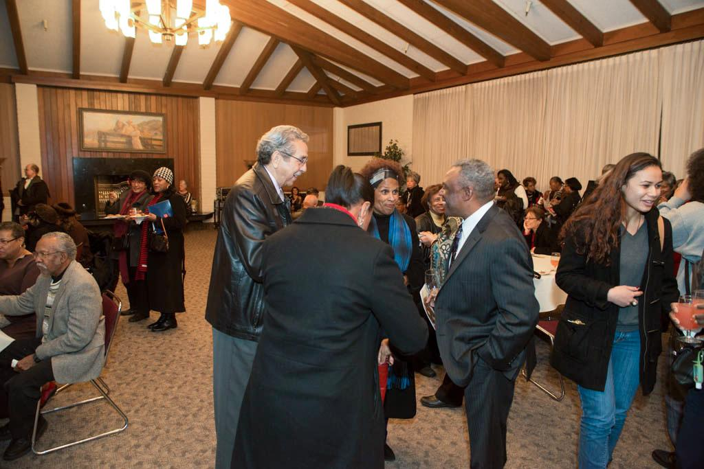 SMC alums network at a Black Alumni Chapter reception honoring San Francisco abolitionist and Saint Mary's benefactor Mary Ellen Pleasant.