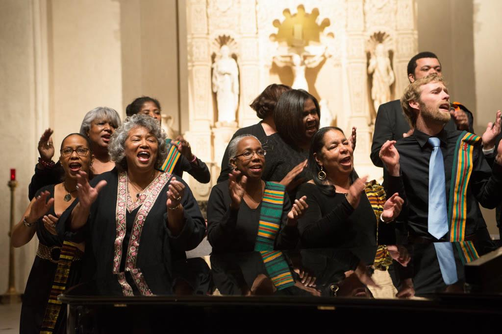 Members of the St. Columba Catholic Church Choir perform in the College Chapel.