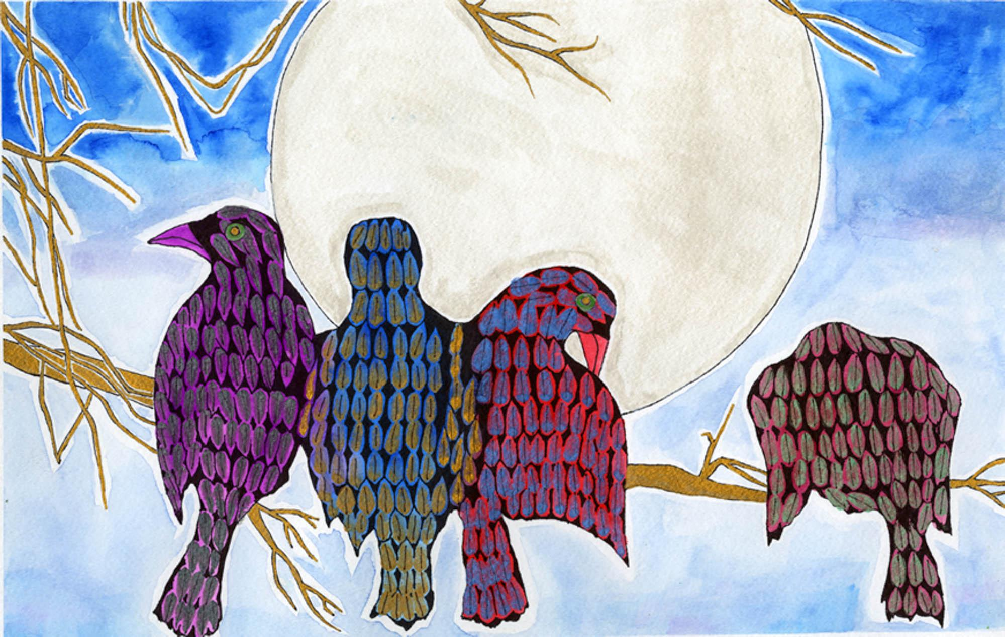 Tranquil Crows, Mira Darham, age 14 Bozeman, Montana  (Submitted Independently), 2013 River of Words Finalist