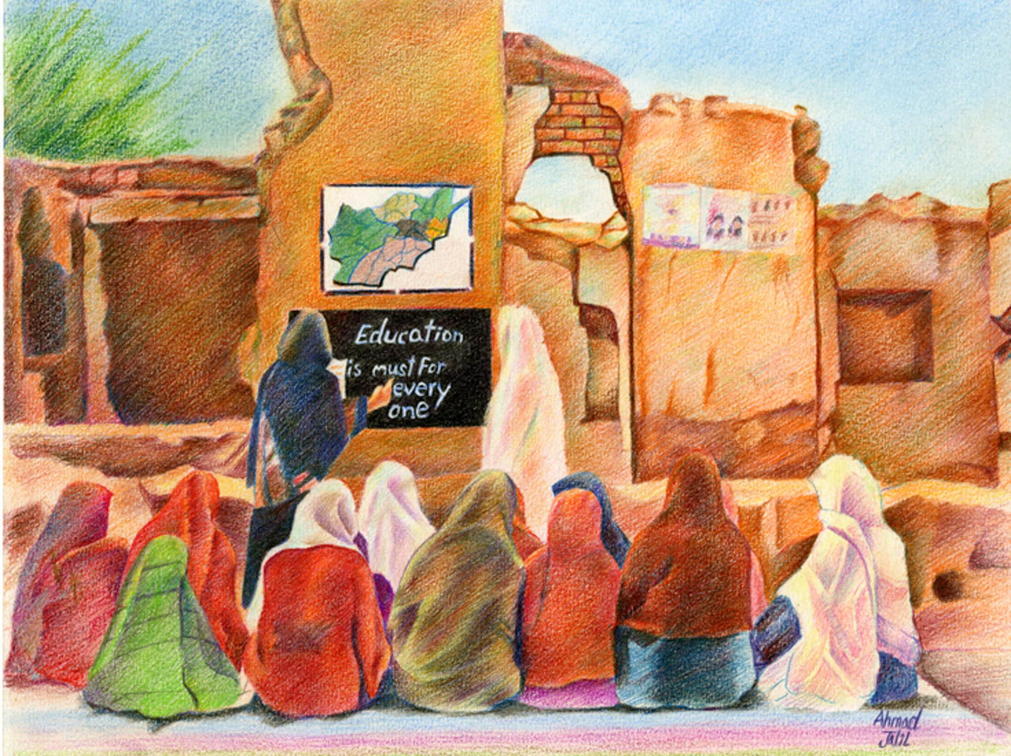 Education After War, Ahmad Jalil, age 15 Quetta, Pakistan (Afghan national) Mosawir Art Academy Teacher: Nawroz Mosawir, 2013 River of Words Finalist