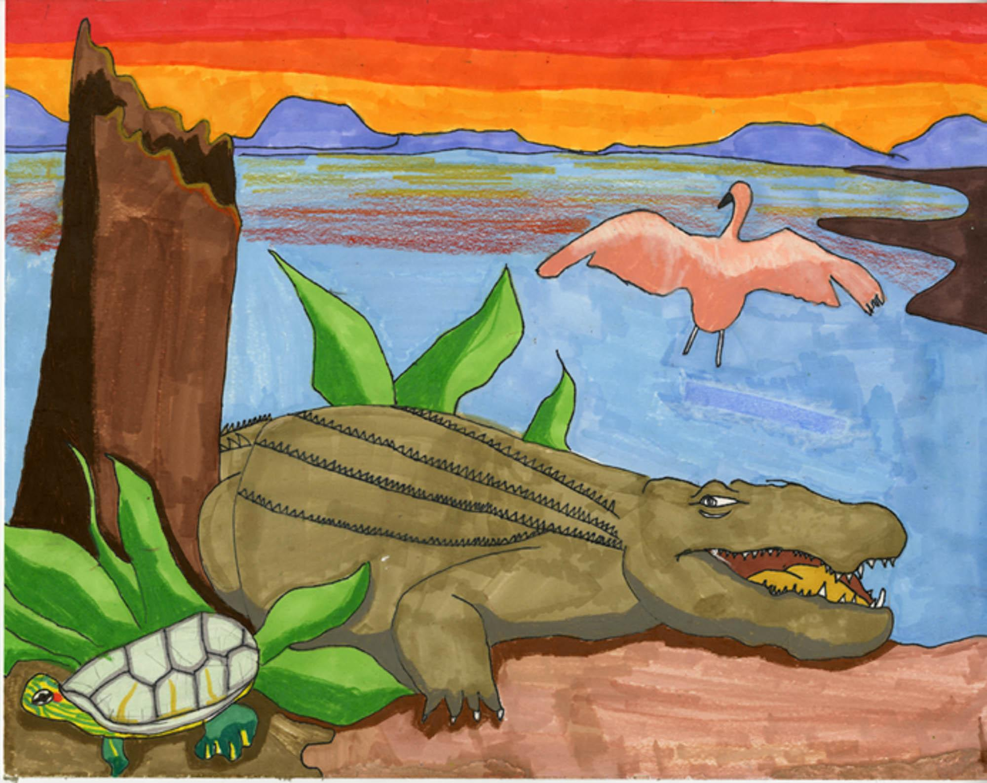 Animal Safari, Brian Koh, age 9 Duluth, Georgia Ska Academy of Art and Design  Teacher: Leng Chang, 2013 River of Words Finalist