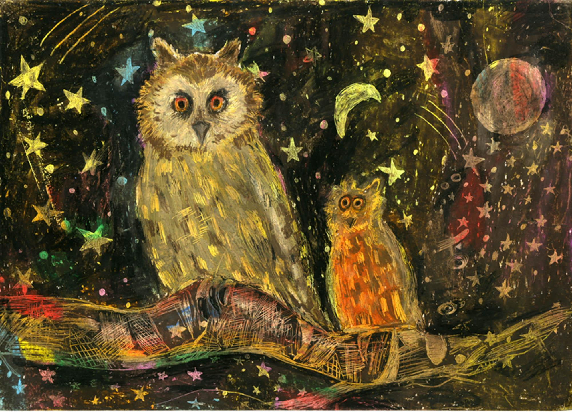 Owl in the Starry Night, Sohee Park, age 8 Ridgefield, New Jersey (Submitted Independently), 2013 River of Words Finalist