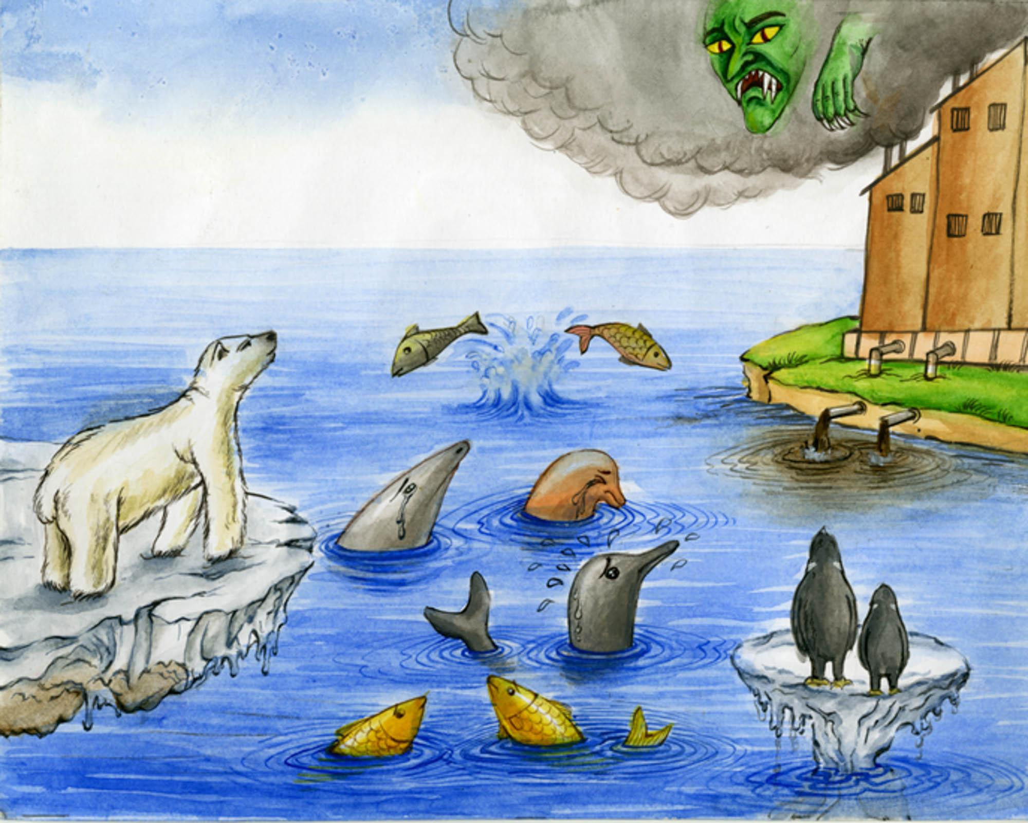 Global Warming, Neha Ray, age 13 Kolkata, India (Submitted Independently), 2013 River of Words Finalist