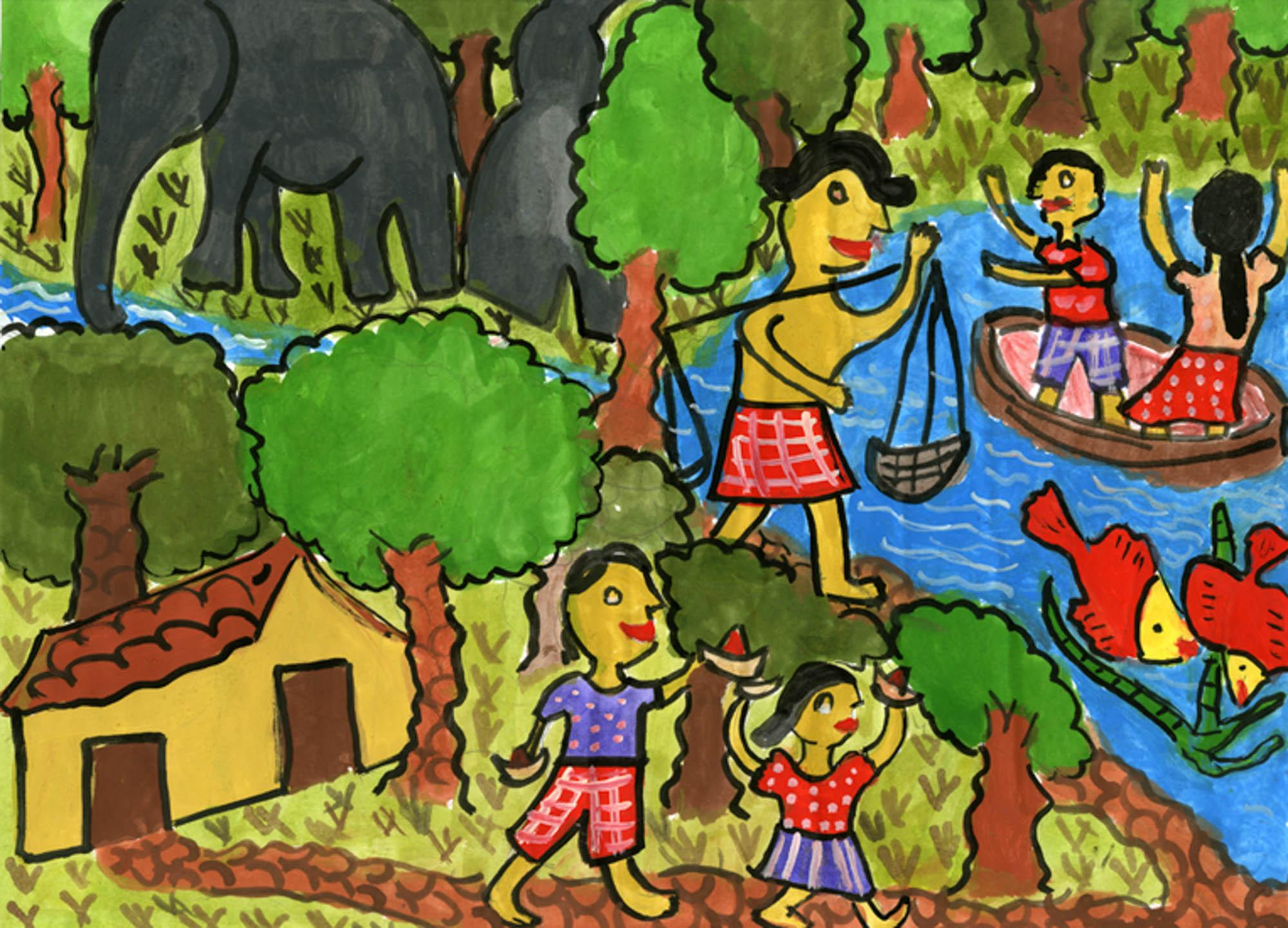 Water World, Yowuni Praveena Siriwardana, age 7 Gampaha, Sri Lanka  (Submitted Independently), 2013 River of Words Finalist