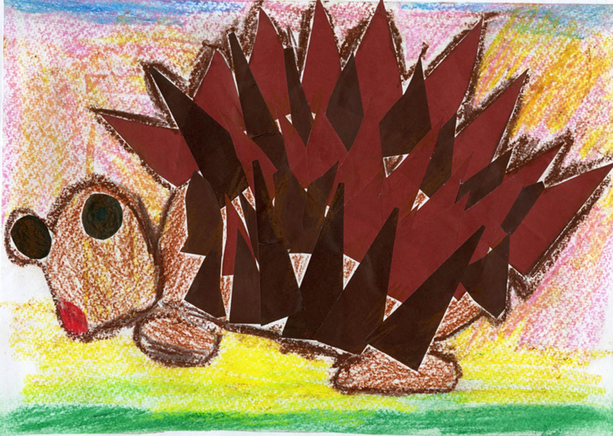 "Hedgehog,  Sara Vretic, age 5 B.D. Polje, Serbia Kindergarten ""Curcab"" Teacher: Mira Bajic, 2013 River of Words Finalist"