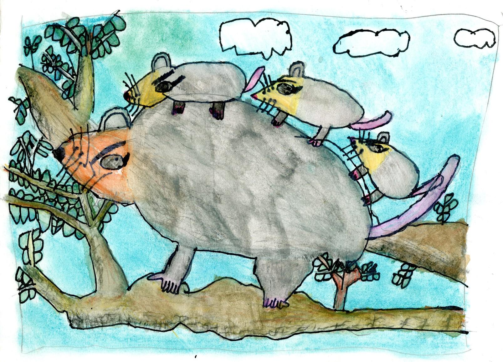 "2015 River of Words Finalist ""Opossum and Company"" Marisol Jenkins-Sorensen, age 10. Santa Cruz, California. Watershed Art Studios - Teacher: Linda Cover"