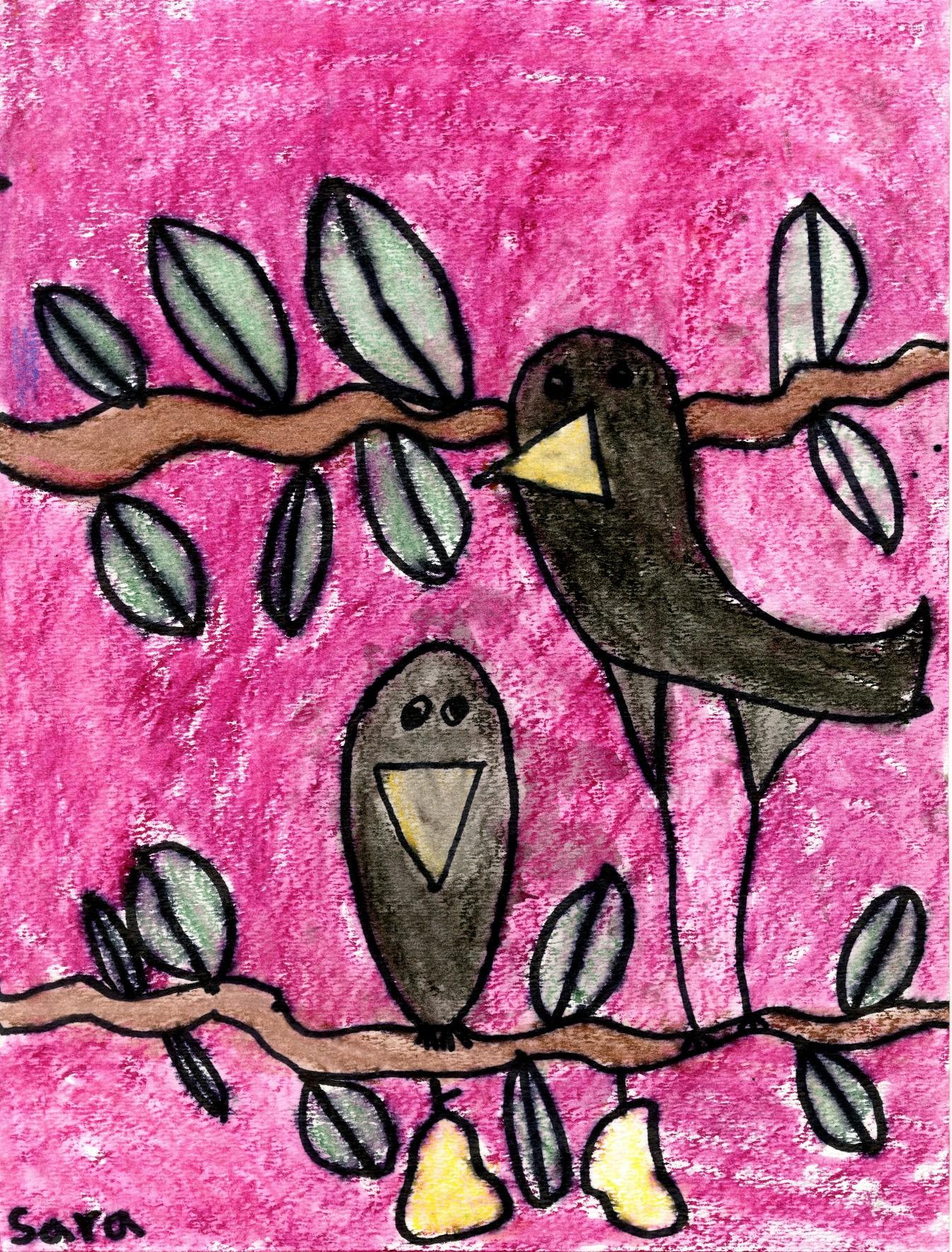 """Crows"" by Sara Rajpathak, age 6. 2015 Art Grand Prize Winner Category I. Redmond, Washington"