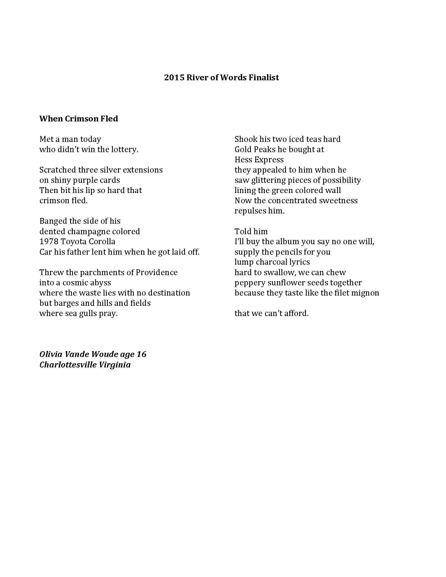 2015 River of Words Winners and Finalists