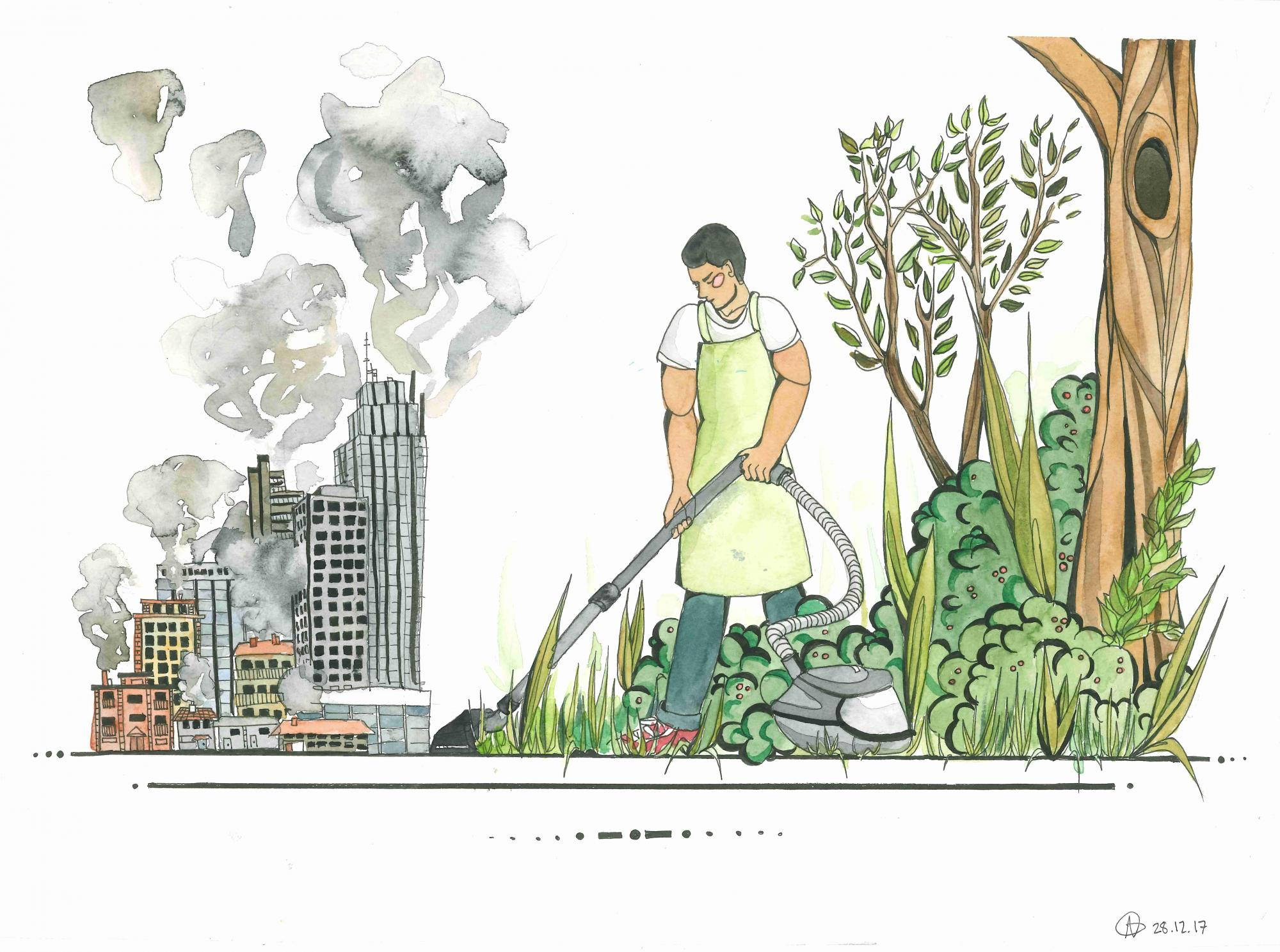 """""""Vacuum cleaning my Way to a Greener World"""" Ailie Gieseler, age 16. Berlin. Germany. River of Words 2018 Finalist."""