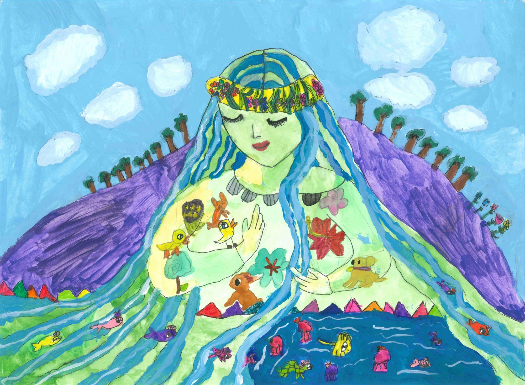 """Goddess of the River"" Sophia Hu, age 7. Lilburn, Georgia. United States. Shijun Art Studio. Teacher: Shijun Munns. River of Words 2018 Finalist."