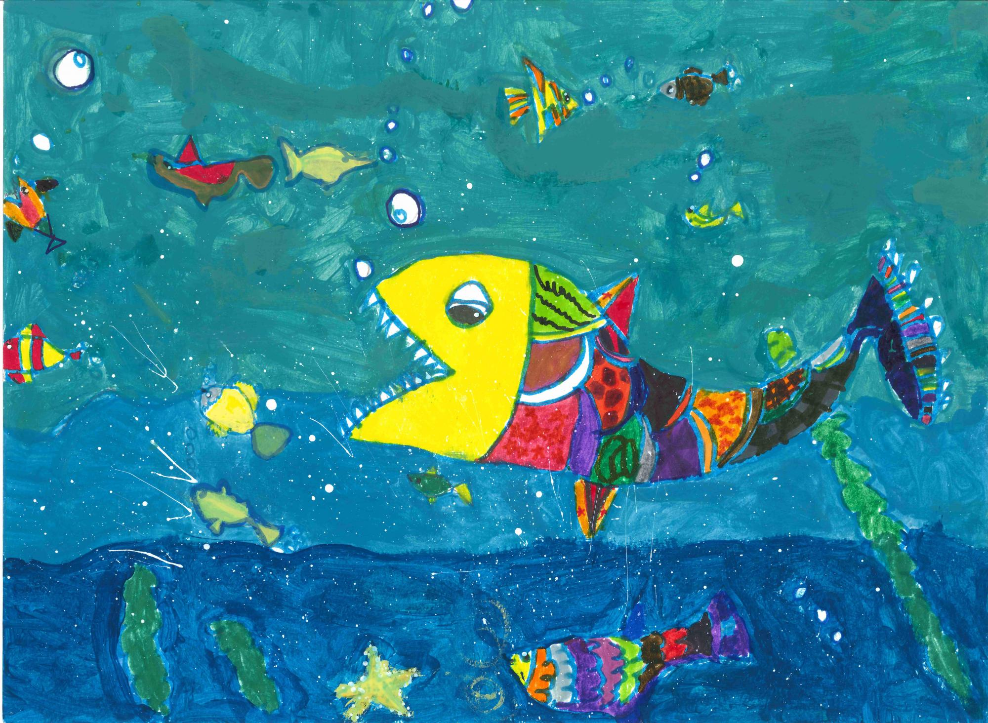"""Colorful Fishes"" Emma Yuan Luo, age 7. Snellville, Georgia. United States. Shijun Art Studio. Teacher: Shijun Munns. River of Words 2018 Finalist."