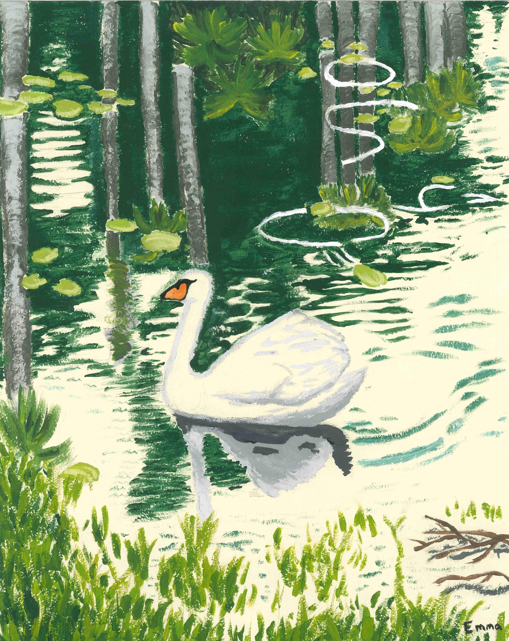 """Swan"" Emma Mosley, age 13. Conyers, Georgia. United States. General Ray Davis Middle School. Teacher: Katy King. River of Words 2018 Finalist."