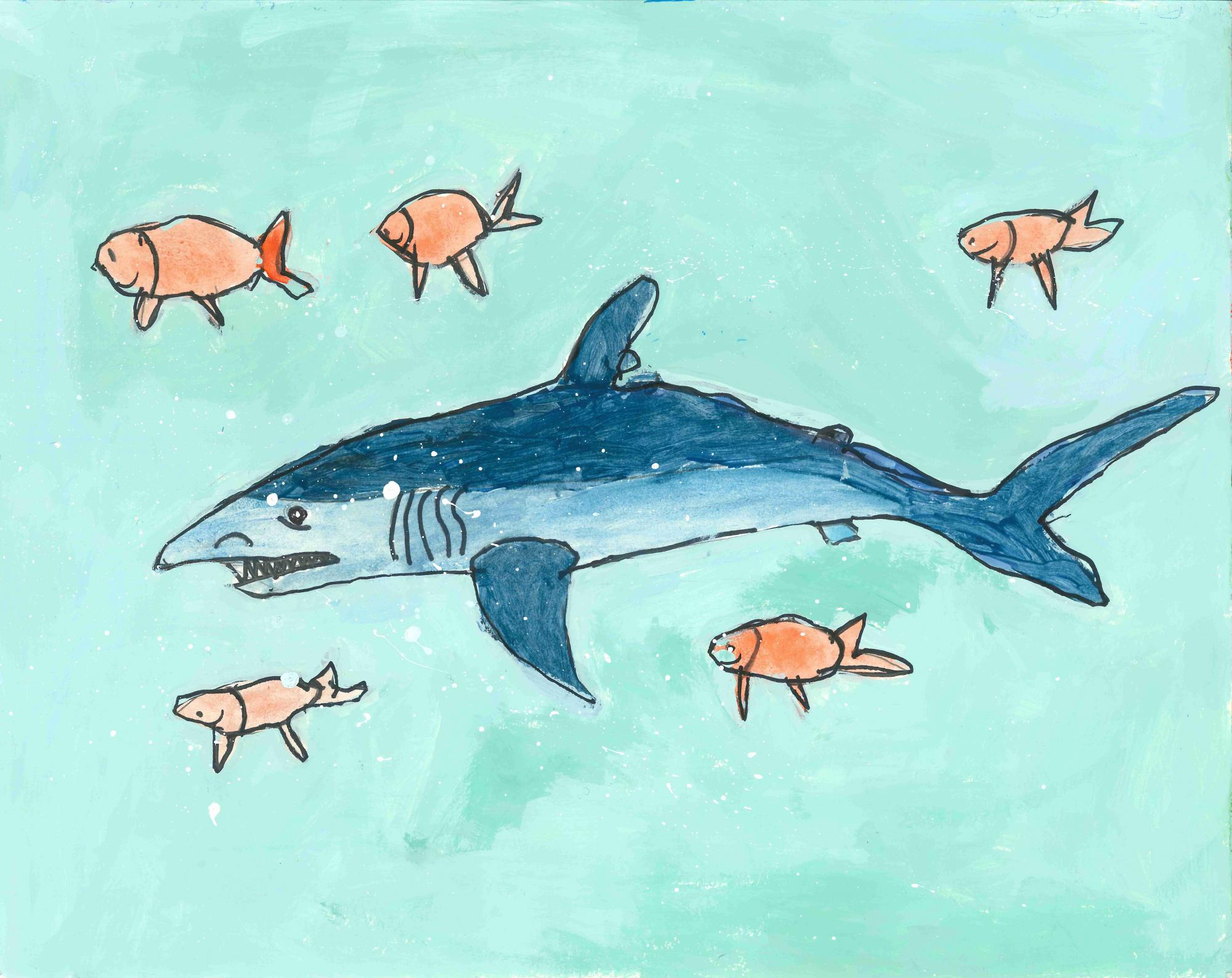 """Shark"" Andrew Wang, age 8. Snellville, Georgia. United States. Shijun Art Studio. Teacher: Shijun Munns. River of Words 2018 Finalist."