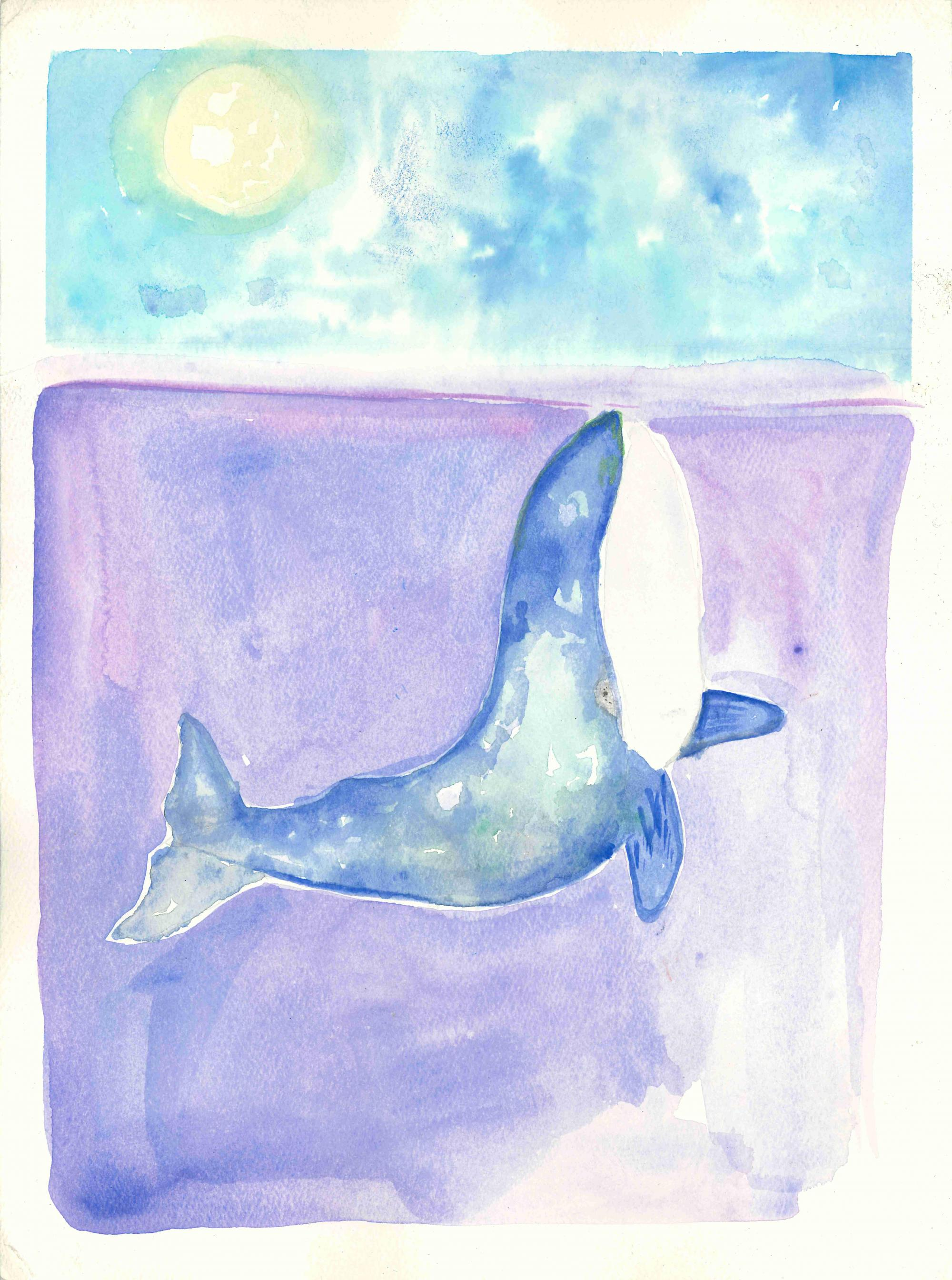 """Starry Whale"" Gabriel Wolfersberger, age 9. Atlanta, Georgia. United States. Springmont School. Teacher: Theresa Dean. River of Words 2018 Finalist."