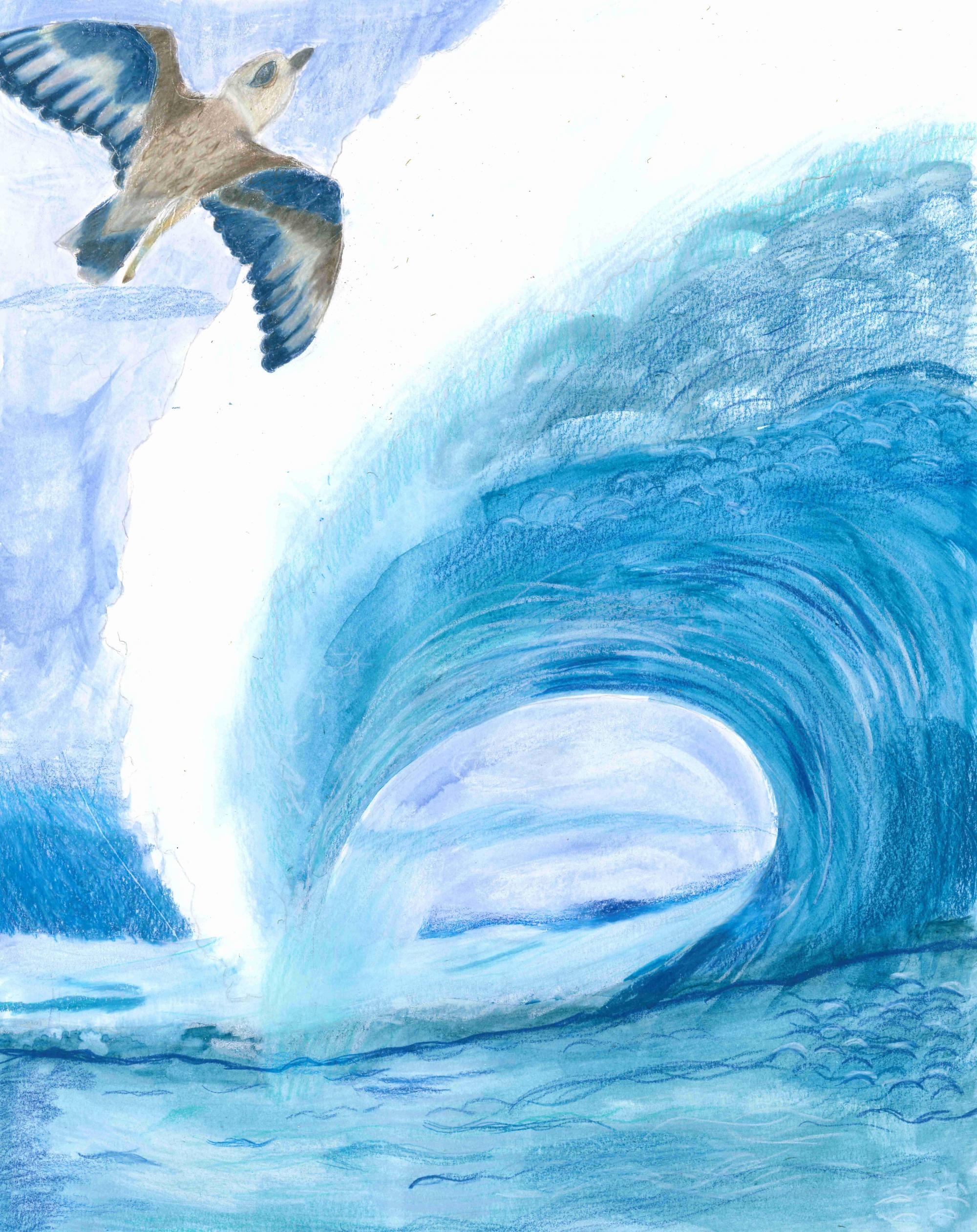 """Soaring Wave"" Sophia Xu, age 10. Westbury, New York. United States. Bowling Green Elementary School. River of Words 2018 Finalist."