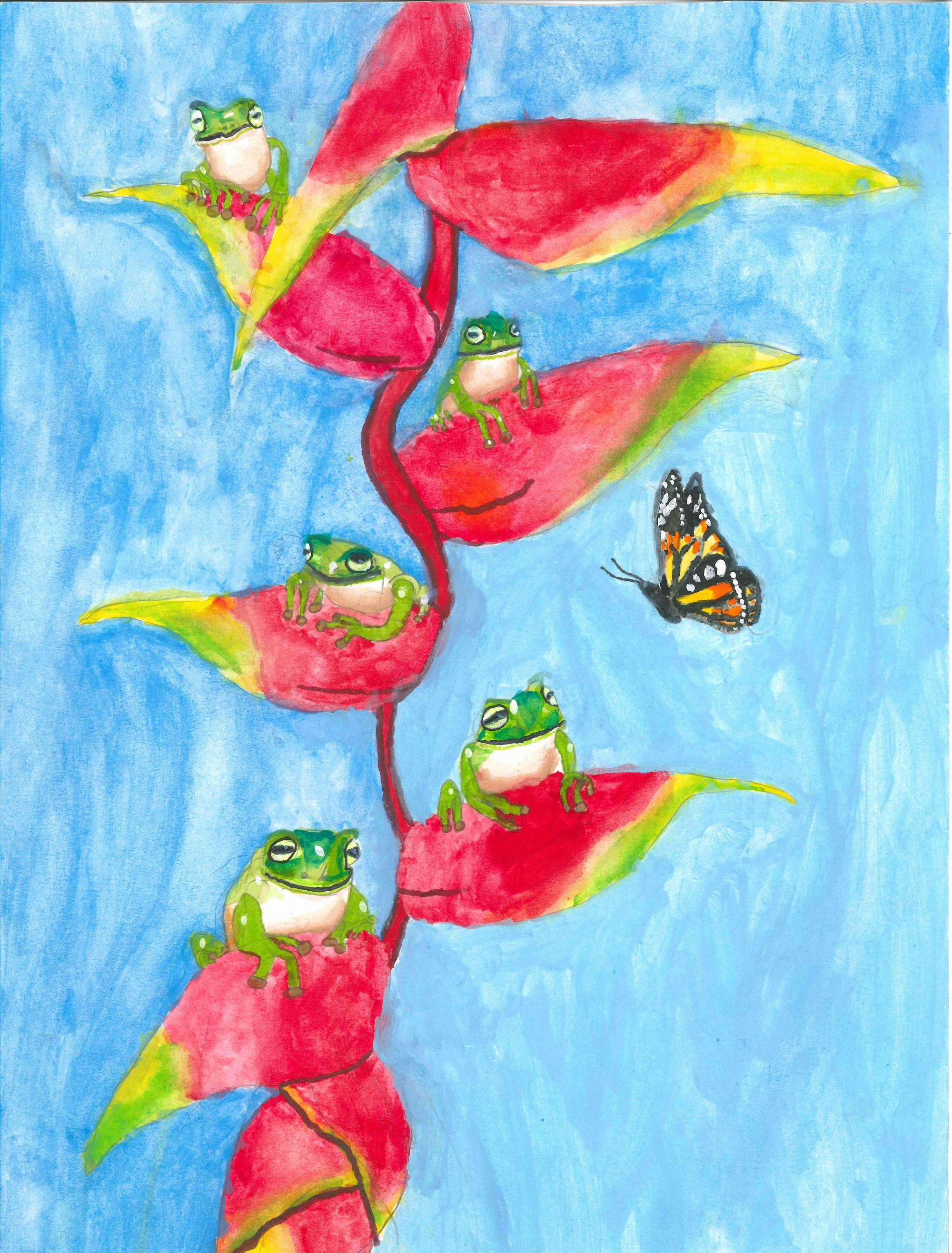 """Rainforest Party"" Chenxi (Jerry) Yu, age 8. Atlanta, Georgia. United States. Shijun Art Studio. Teacher: Shijun Munns. River of Words 2018 Finalist."