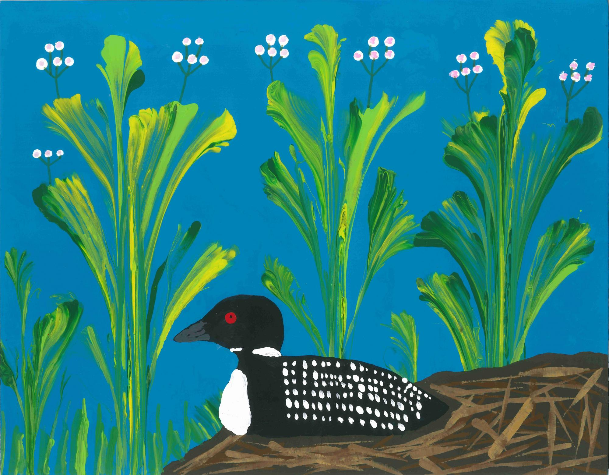 """""""Loon by the Lake"""" Seth Landers, age 9 Cumming, GA. United States Whitlow Elementary 2019 Art Finalist"""