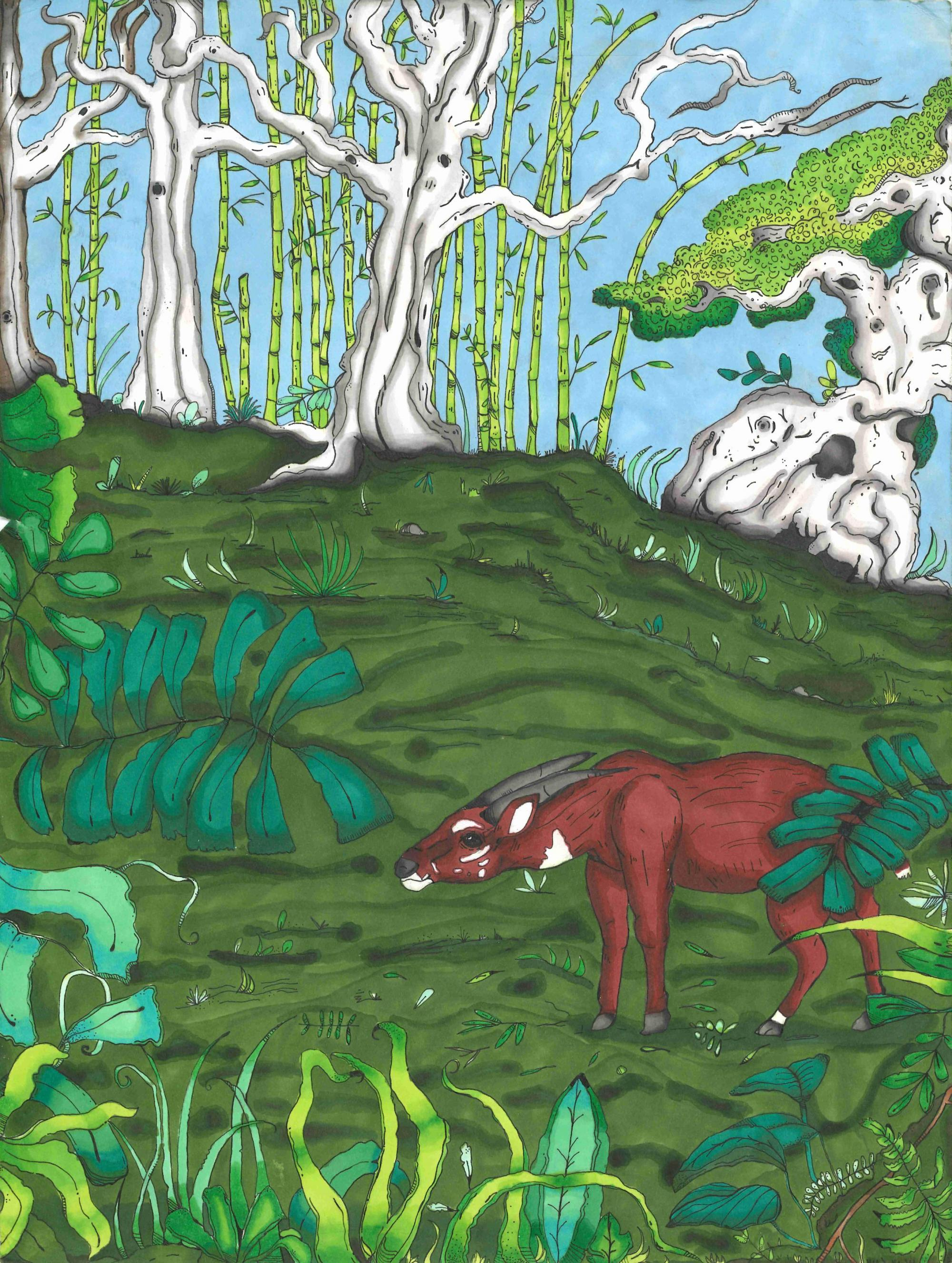 """The Unicorn of Vietnam"" by Camille Hall, age 13. McDonough, GA. United States. General Ray Davis Middle - Teacher: Katy King. 2020 Art Finalist"