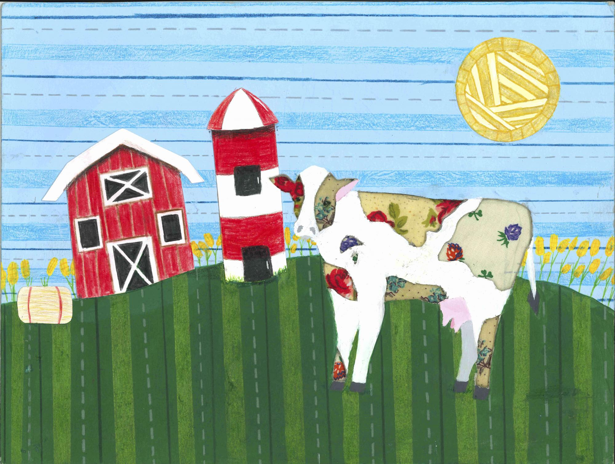 """Barnyard Bessie"" by Alivia Nagel, age 12. Buford, GA. United States. Academies of Discovery at SHMS - Teacher: Lyndrid Patterson. 2020 Art Finalist"