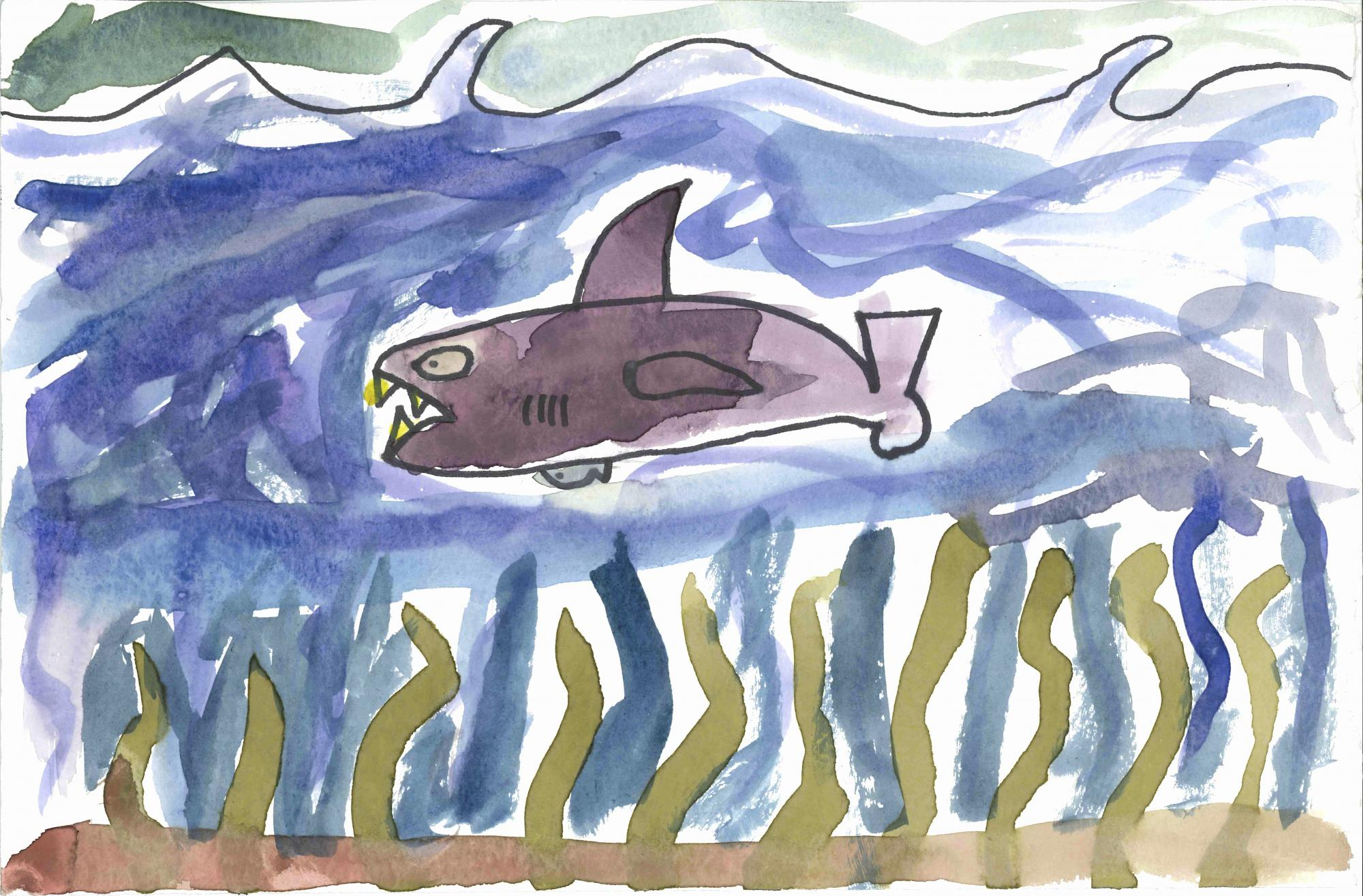 """The Shark"" by Connor Rapp, age 8. Rochester, WA. United States. Grand Mound Elementary - Teacher: Danette Jones. 2020 Art Finalist"