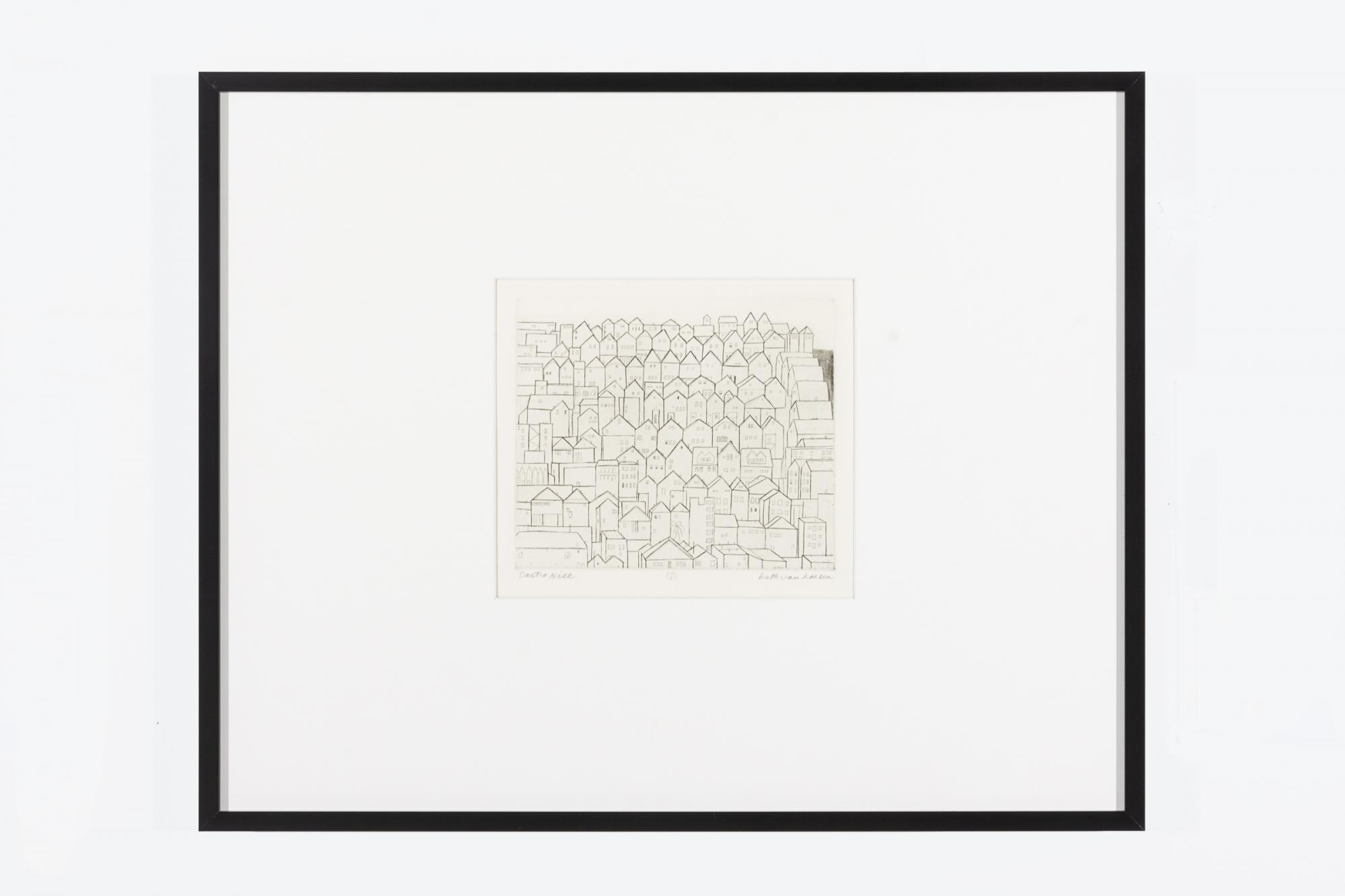 Beth Van Hoesen, United States, 1926-2010. Castro Hill, 1960. Engraving and etching with roulette on paper, edition 24/25. Gift of the E. Mark Adams and Beth Van Hoesen Adams Trust. 2012.6.3