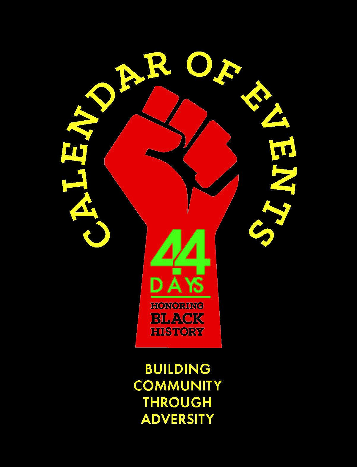 44 days logo red black and green. Building Community Through Diversity