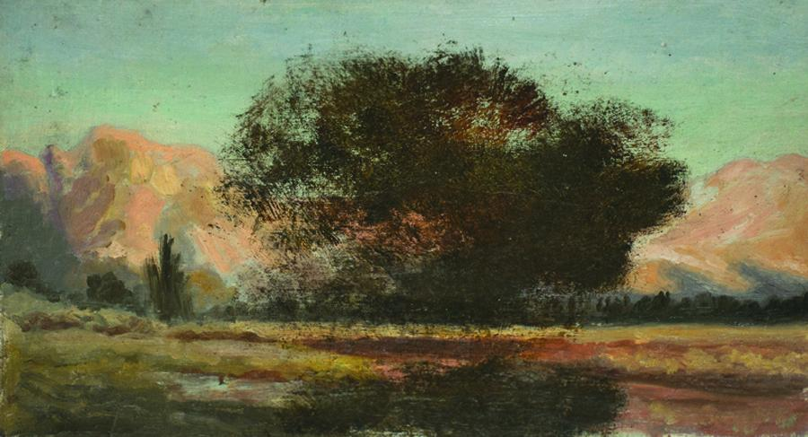 William Keith, Early Yosemite Sketch - Oak, Pink Mountains, circa 1890, Oil on canvas mounted on board, 10 ½ x 15 ½ inches, Collection of Saint Mary's College Museum of Art,  Gift of Margaret Keane McGuire, 82.2.1