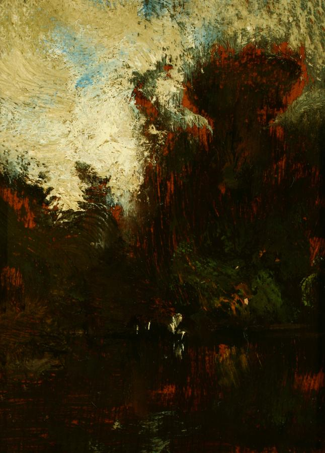 William Keith, Landscape Sketch, circa 1900-1909, Oil on cigar box panel, 5 x 3 ¾ inches, Collection of Saint Mary's College Museum of Art,  Gift of Angelina Genaro Alioto, 84.1