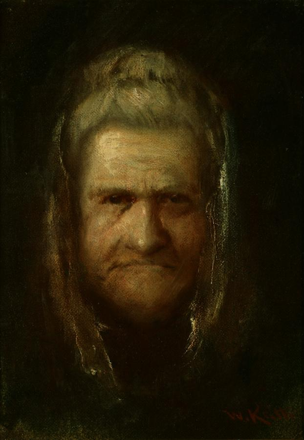 William Keith, Portrait of Joaquin Miller's Mother (Margaret Miller), circa 1886-1890, Oil on canvas mounted on composition board, 8 ¼ x 5 ¾ inches, Collection of Saint Mary's College Museum of Art,  Gift of Maxwell Galleries, Ltd., San Francisco, 85.11