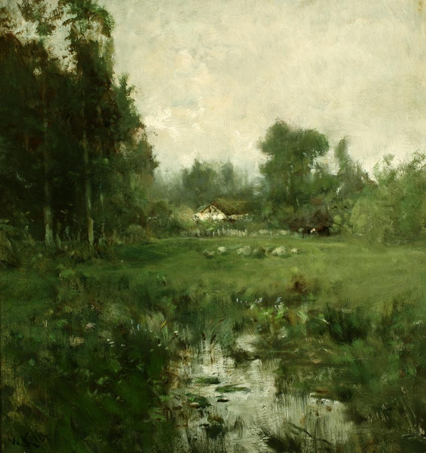 William Keith, California Landscape - Meadow with Sheep and House, circa 1890-1899, Oil on canvas, 21 x 20 inches, Collection of Saint Mary's College Museum of Art,  Gift of the Archibald B. Tinning Family, 86.1