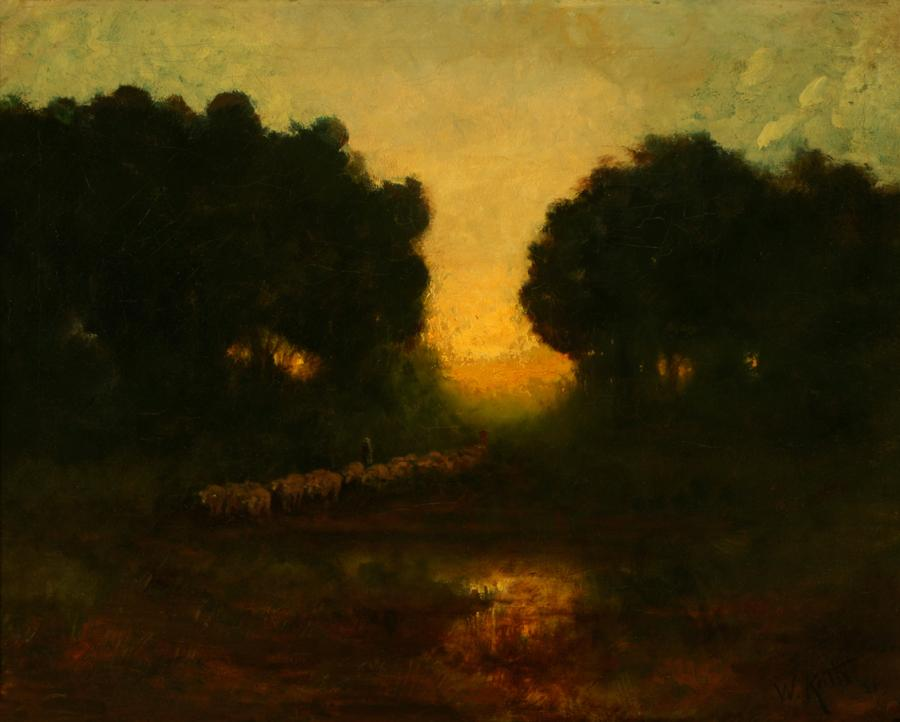 William Keith, Twilight at Cazadero, circa 1900-1911, Oil on canvas, 22 x 28 inches, Collection of Saint Mary's College Museum of Art,  Gift of the grandchildren of Leo and Marian Lindley, 91.25